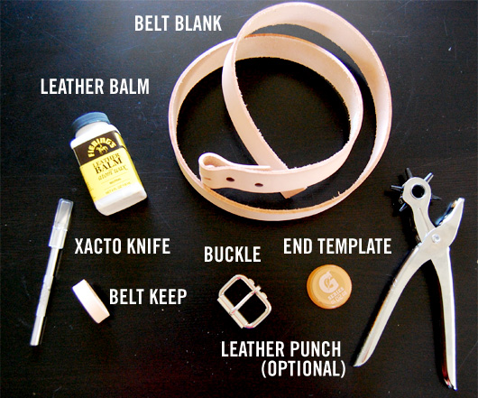 Items needed to make a diy belt - belt blank, buckle, keep, knife, leather balm