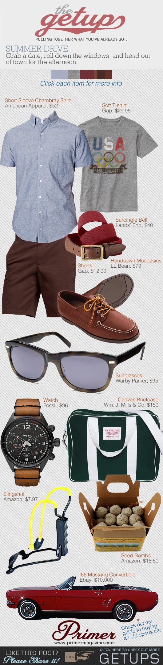 The Getup outfit collage - blue shirt, t-shirt, brown shorts, camp moc shoes