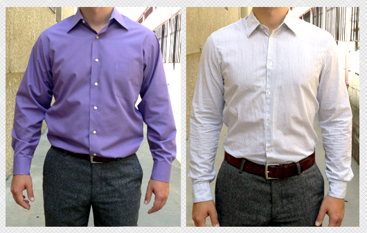 billowy dress shirt compared to fit shirt