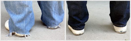 jeans ripped at the foot