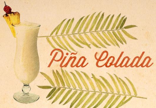 Pina colada tiki drink illustration
