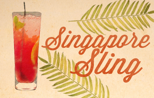 Singapore Sling tiki drink illustration