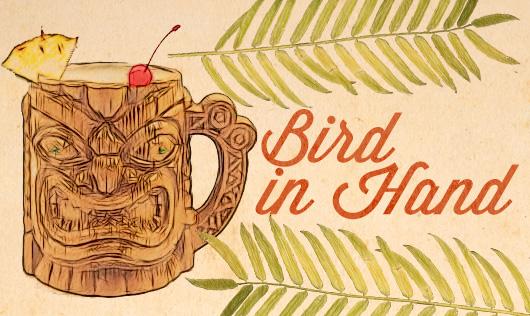 Bird in hand, tiki drink illustration