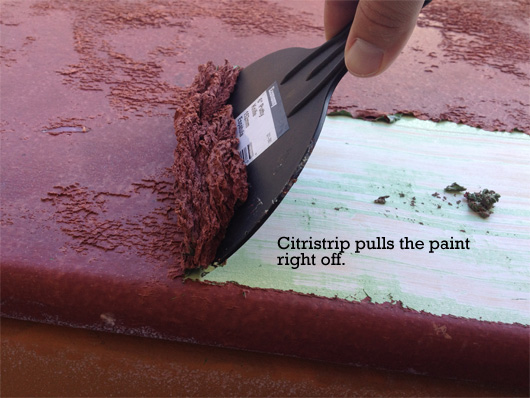 Scraping of paint with citristrip
