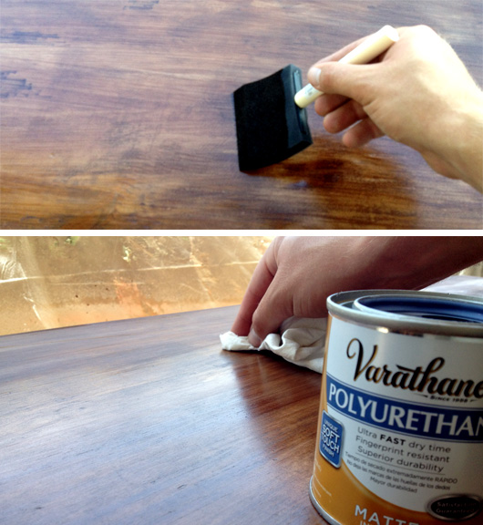 Staining and applying polyurethane to a dresser top
