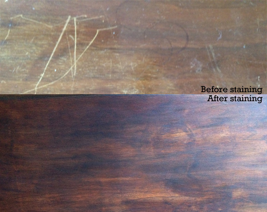 Before and after of restaining a scratched surface