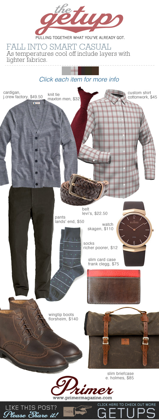 The Getup: Fall Into Smart Casual outfit inspiration - gray sweater, tan khaki shirt, brown boots