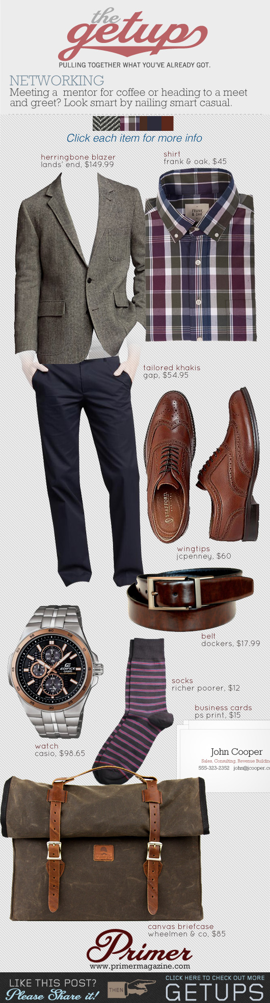 Getup Networking: Gray blazer, plaid shirt, blue dress pants, brown wingtip shoes outfit idea