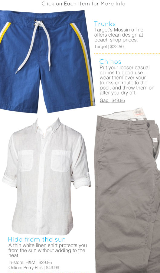 Collage of chinos, trunks, and white shirt