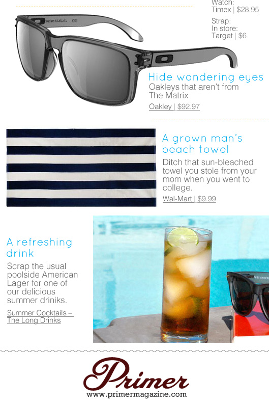 Collage of sunglasses, striped beach towel, and summer cocktail