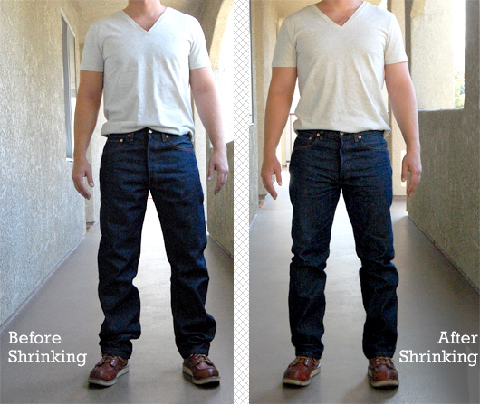 Levis 501 Shrink to Fit before after comparison