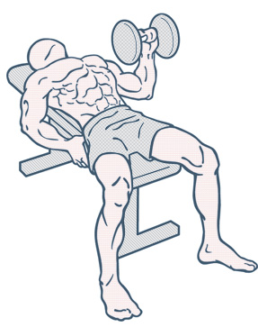 Illustration of man doing one armed bench press
