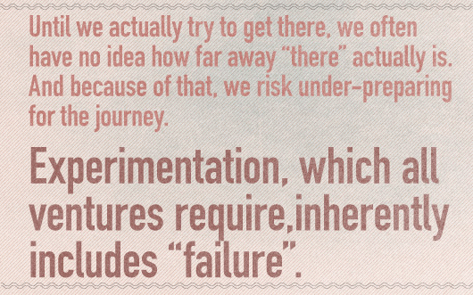 "Article quote: Experimentation, which all ventures require,  inherently includes ""failure\"""