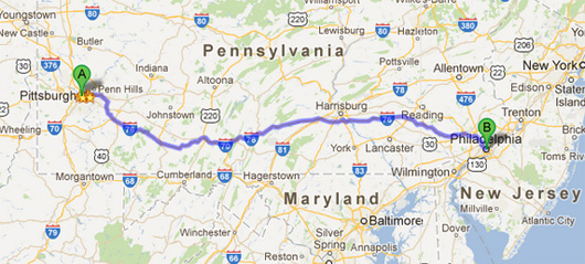 Map of PA with highway route highlighted