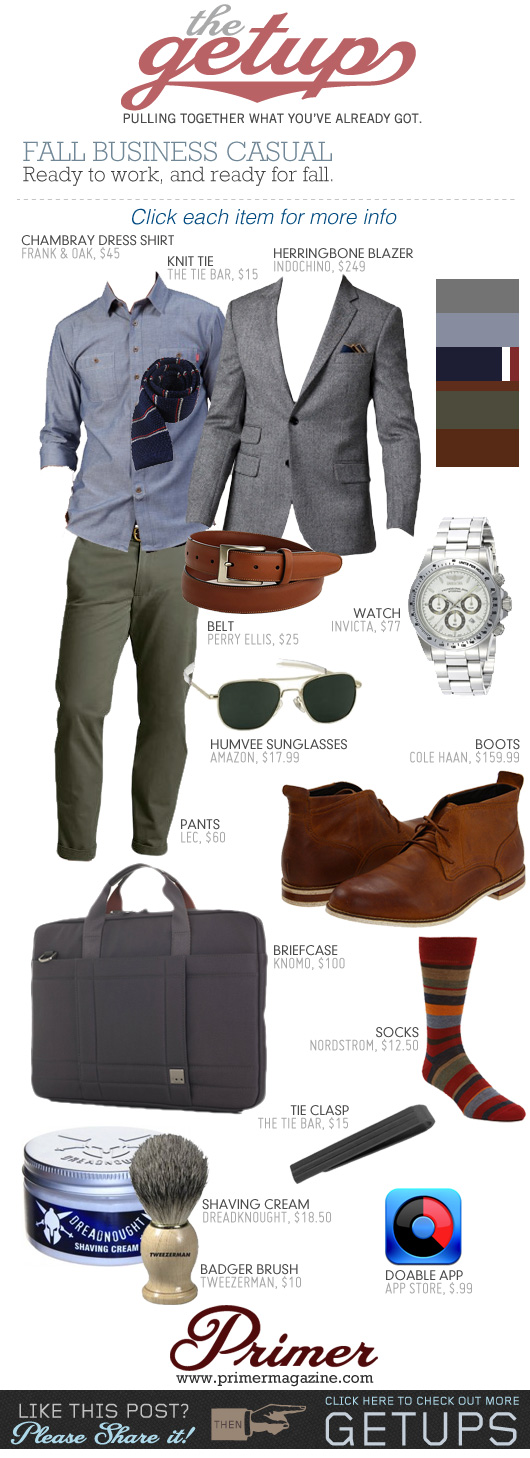 The Getup Fall Business Casual - outfit with gray blazer, blue shirt, green chinos, and brown boots