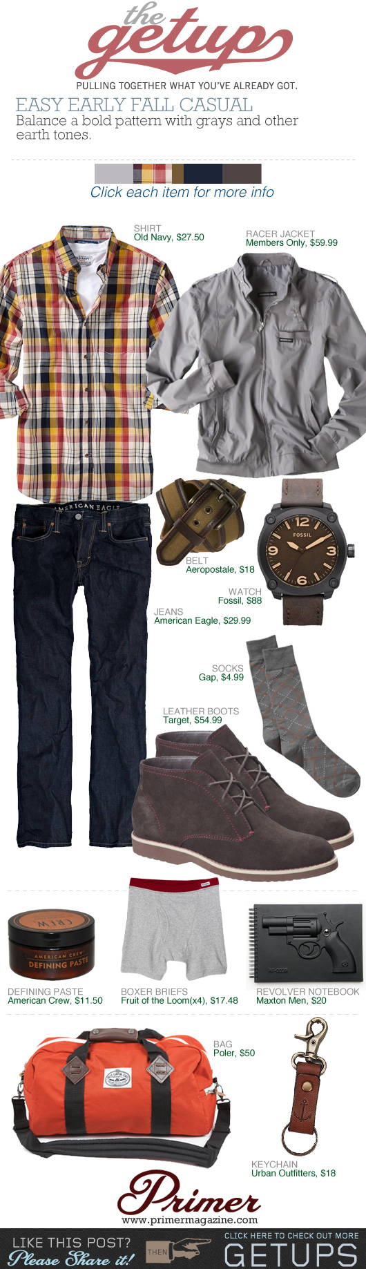 The Getup Fall Casual gray jacket, plaid shirt, dark jeans, brown boots