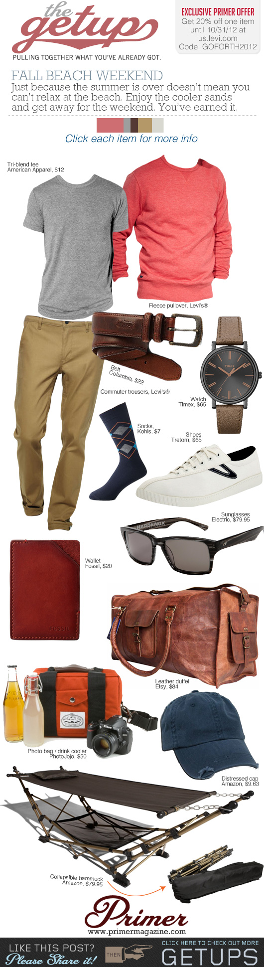 Fall Beach Weekend outfit inspiration with red sweatshirt, gray t-shirt, khaki pants, white sneakers