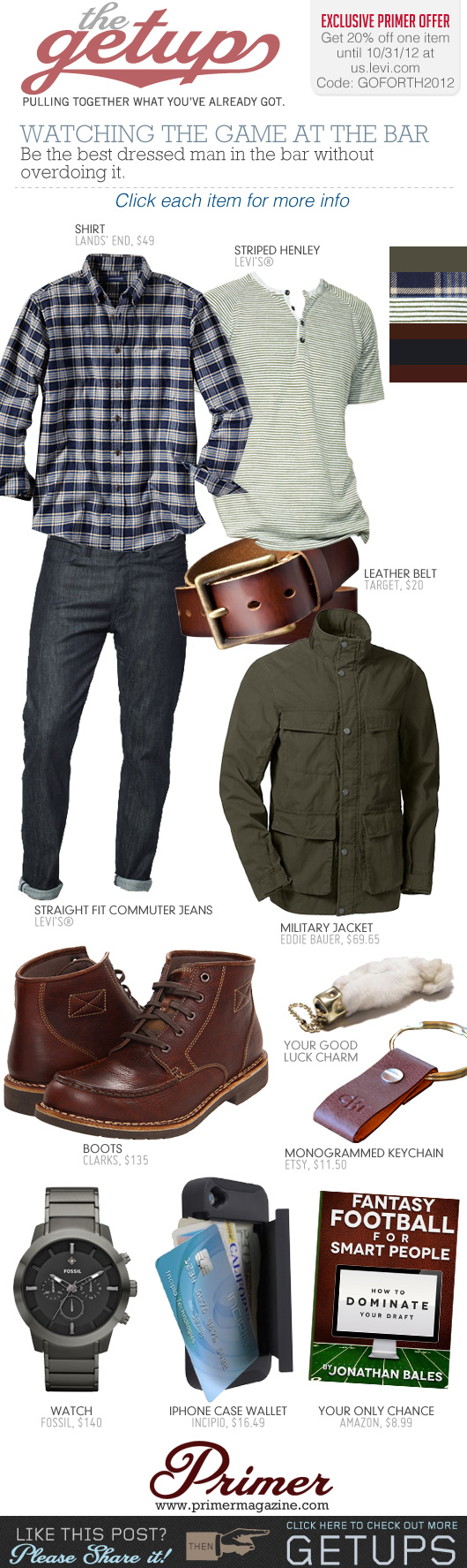 The Getup: Watching the Game at the Bar - Men\'s outfit inspiration with green jacket, dark blue jeans, and brown boots