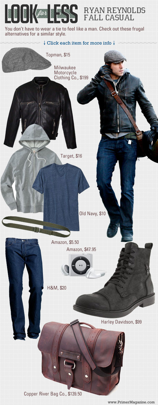 Men\'s outfit inspiration with leather jacket, gray hootie, blue t-shirt, jeans, black boots
