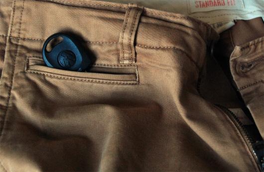 Car key coming out of khaki pants