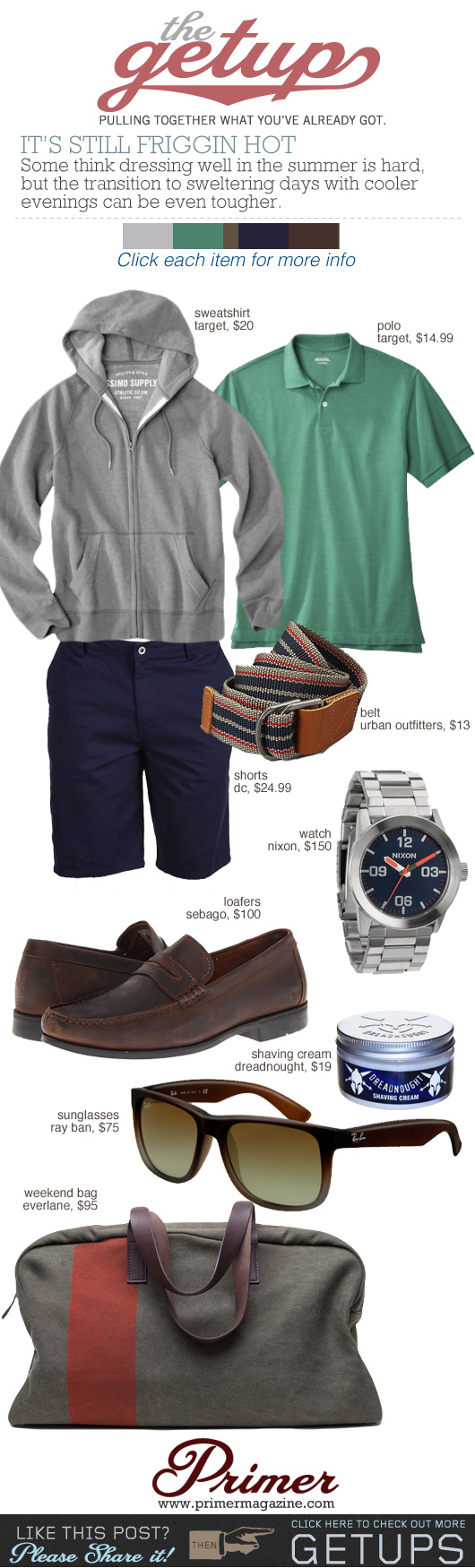 The Getup Still Hot: Men\'s outfit inspiration with gray sweatshirt, green shirt, blue shorts, and blue loafers