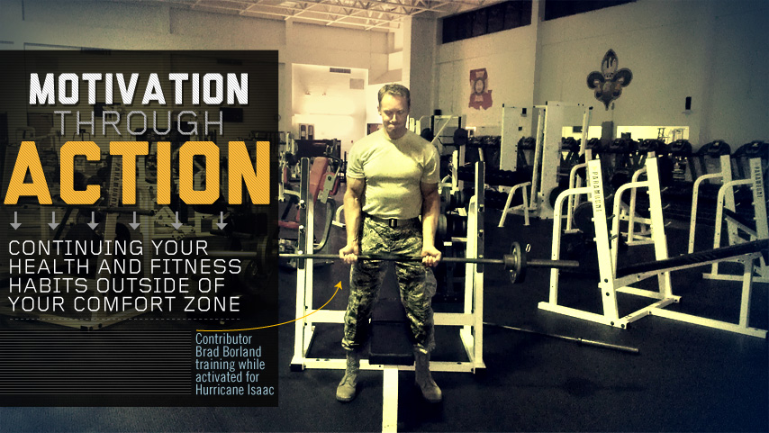 Motivation Through Action title with man doing a bicep curl