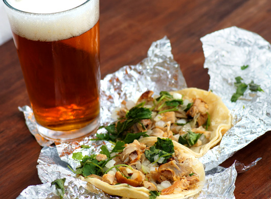 Tacos with beer