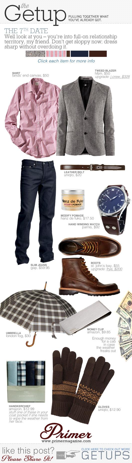 Getup 7th Date - blazer, pink shirt, dark jeans, moc toe boots