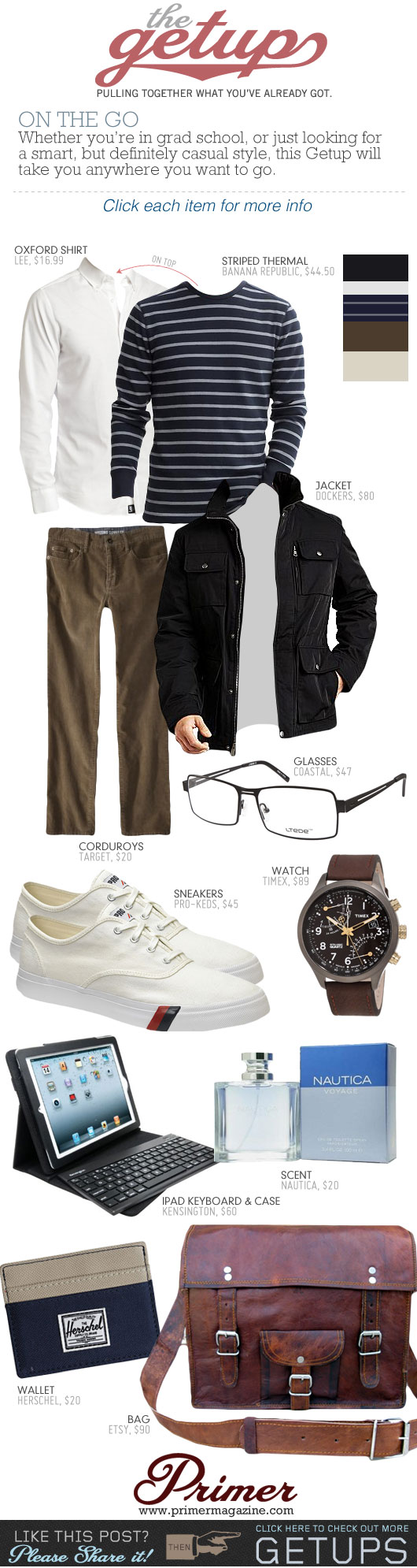Getup On the Go - Black jacket, white sneakers, brown pants, striped shirt