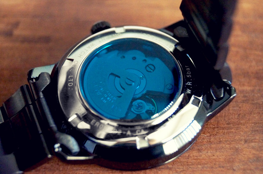 See thru back of Orient watch