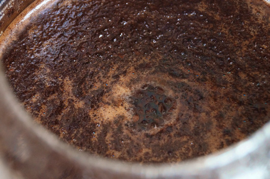 Wet coffee grounds