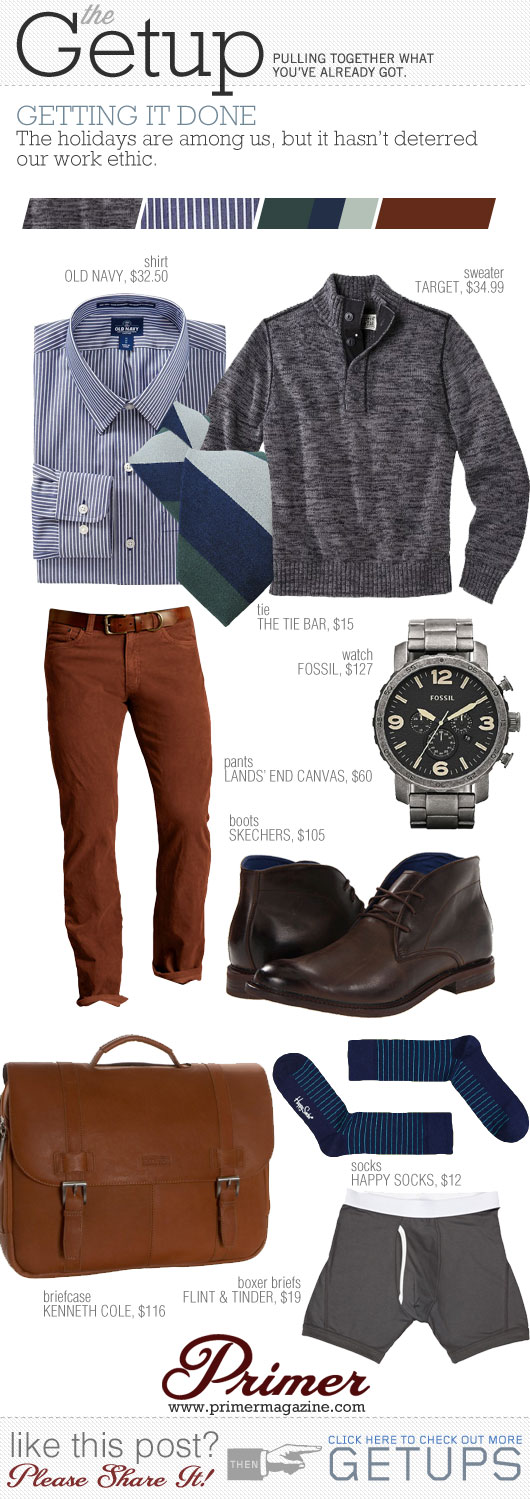 Getup Getting it Done - Sweater, tie, check shirt, orange pants, chukka boots