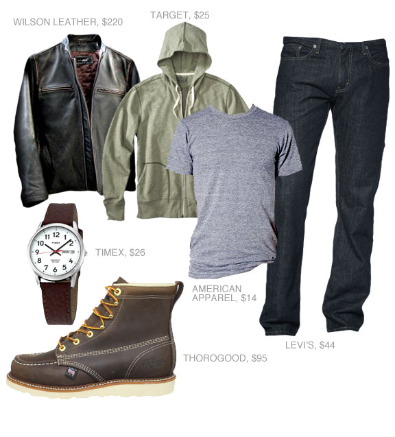 Going Out Outfit with leather jacket, hoodie, t-shirt, jeans, and boots
