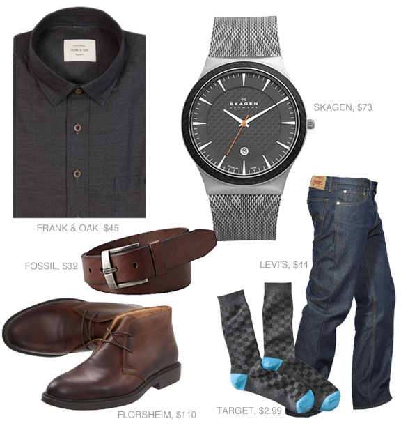 Going out outfit with gray shit, watch, blue jeans, and boots