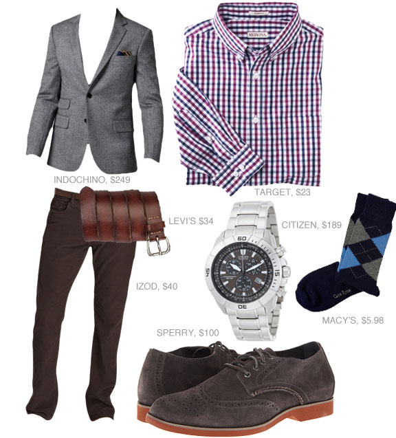 Going out outfit gray blazer, check shirt, pants, and suede shoes