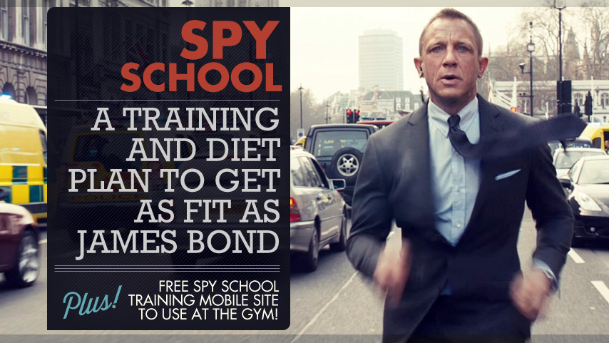 Daniel Craig wearing a suit and tie running down a street - Spy School Training