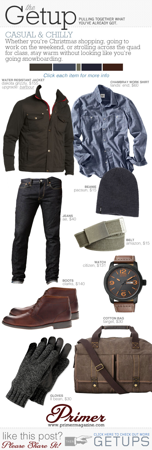Getup Casual and Chilly - Dark jacket, blue shirt, dark blue jeans, brown chukka boots, beanie, watch
