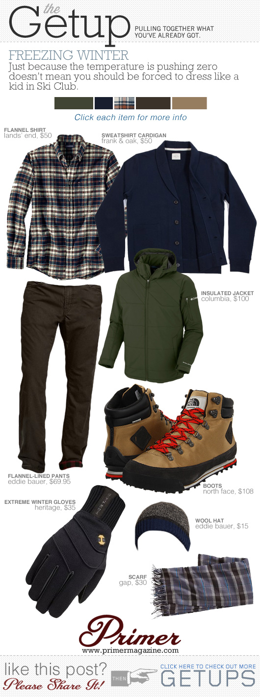 Getup Freezing winter - Green jacket, blue sweater, plaid shirt, brown pants, tan boots