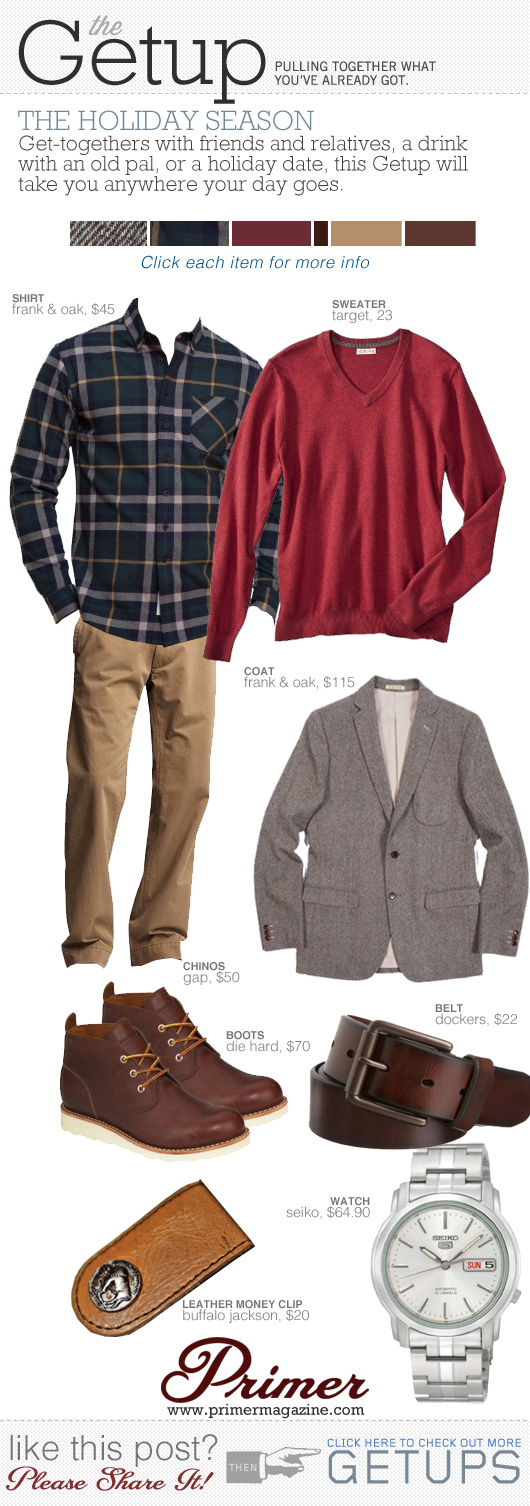Getup Holiday Season - Read sweater, gray sportcoat, plaid shirt, khakis, boots