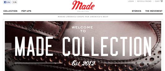 Made Collection website screenshot