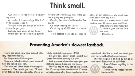 Volkswagen think small ad