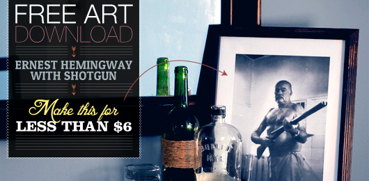 Free Art Print Ernest Hemingway with Shotgun