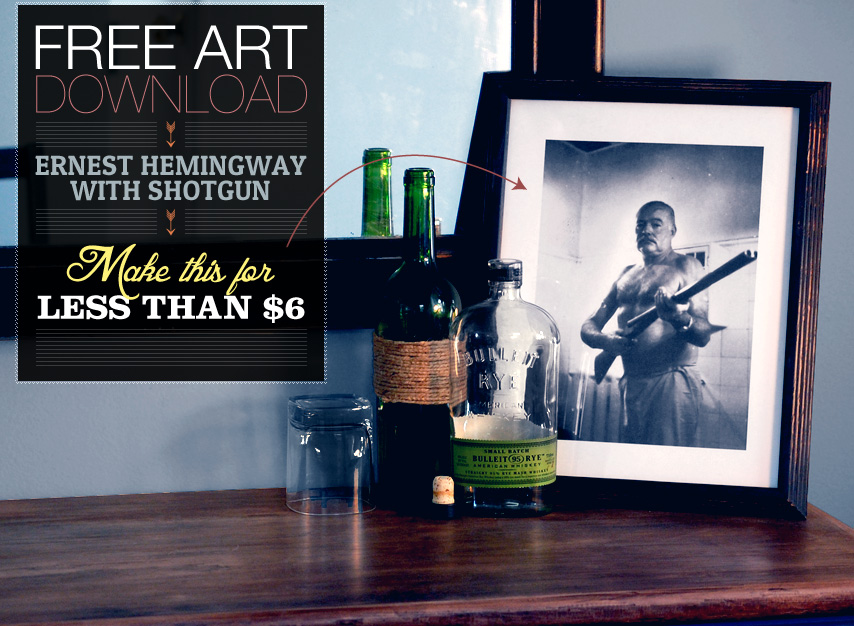 hemingway print with shotgun