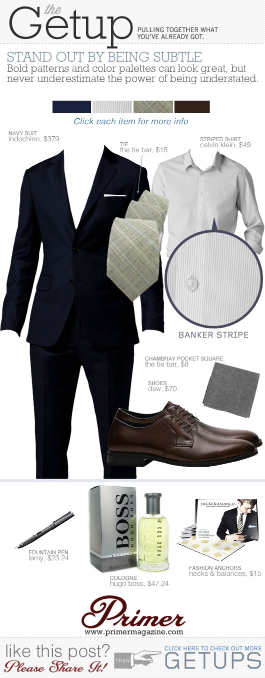 Getup Stand Out By Being Subtle - Navy suit, striped shirt, tie, and brown shoes