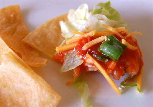 close up of taco dip on a chip