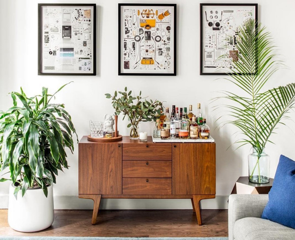 bar cart with plants
