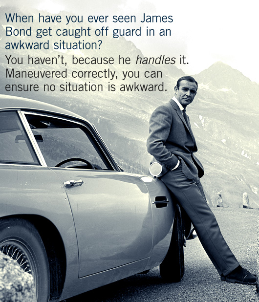 James Bond leaning against car with article quote