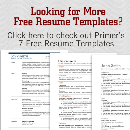 Primer Magazine  Resume Templates For Word 2013