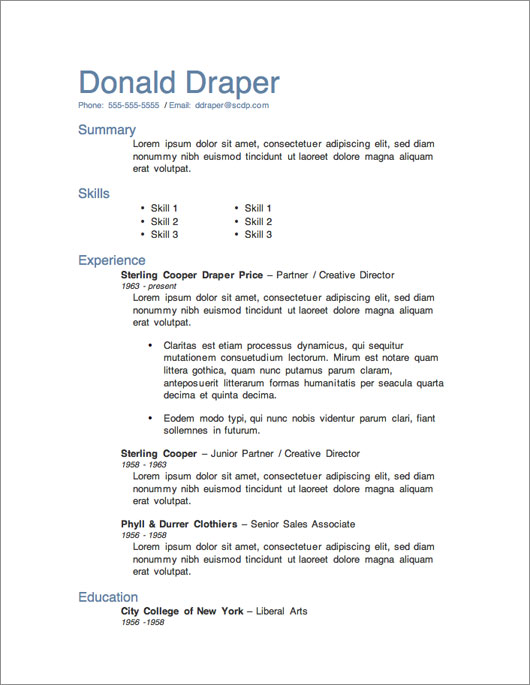 Microsoft Word Resume Template 1 Free Download  Download Format Resume
