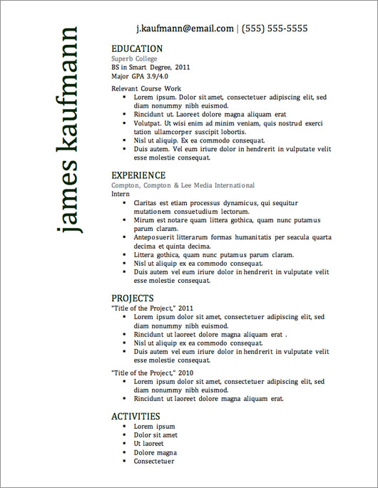 Excellent Resume Templates – Top Resume Formats